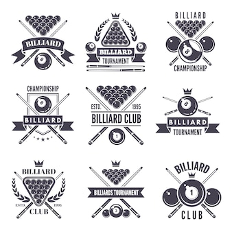 Monochromatyczne etykiety lub logo klubu bilardowego.