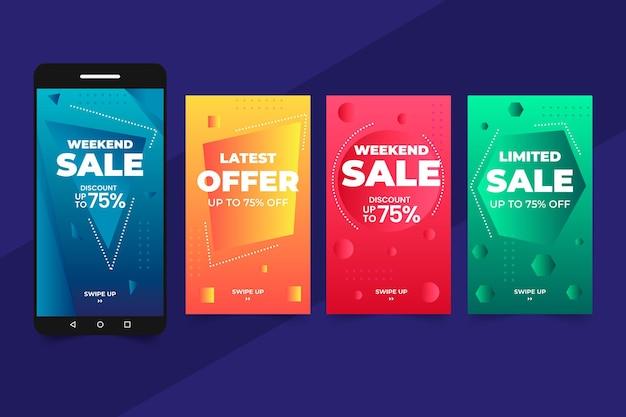 Monochromatyczne historie na instagramie z gradientową sprzedażą