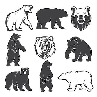 Monochromatyczne ilustracje zestawu stylizowanych niedźwiedzi