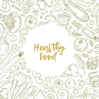 Monochromatyczne kwadratowe tło z ramą składającą się ze zdrowej żywności narysowanej liniami konturowymi na białym tle.