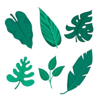 Monochromatyczne Liście Tropikalne Darmowych Wektorów