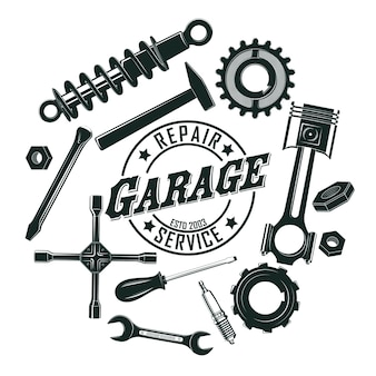 Monochromatyczne narzędzia vintage garaż okrągły koncepcja