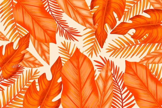 Monochromatyczne pomarańczowe liście tropikalne