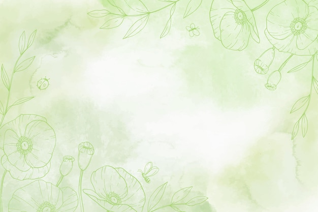 Monochromatyczne ręcznie malowane tło z narysowanymi elementami natury