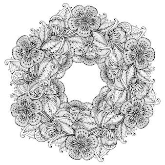 Monochromatyczne ręcznie rysowane fantazyjne kwiaty na białym tle karty na powitanie lub zaproszenie, ilustracja.