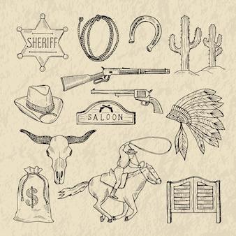 Monochromatyczne ręcznie rysowane ilustracje różnych symboli dzikiego zachodu. zachodnie obrazy ustawiają izolat. dziki zachód vintage, kaktus i gwiazda szeryfa
