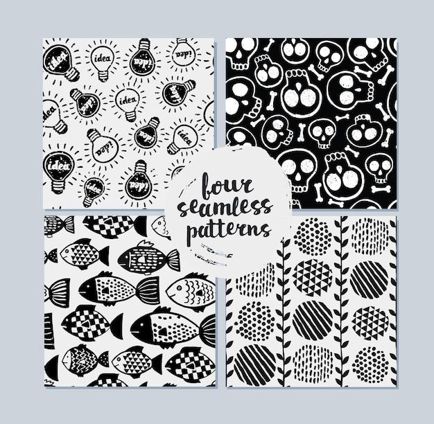 Monochromatyczne ręcznie rysowane tekstury z szewronem