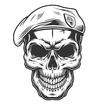 tete de mort avec un beret