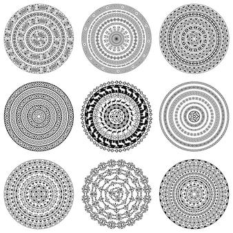 Monochromatyczne tekstury rundy etniczne