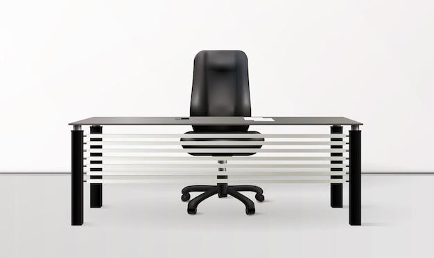 Monochromatyczne tło wnętrza biura z nowoczesnymi meblami