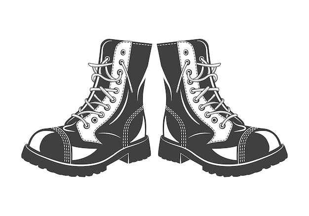 Monochromatyczne wojskowe buty skokowe na białym tle