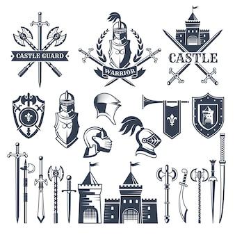 Monochromatyczne zdjęcia i odznaki motywu średniowiecznego rycerza.
