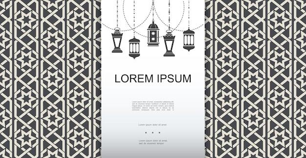 Monochromatyczny arabski elegancki szablon z ramadanem wiszącymi lampionami na islamskiej ozdobnej ilustracji tła