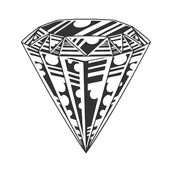 Monochromatyczny duży diament, drogi brylant, klejnot, obraz, styl retro. na białym tle