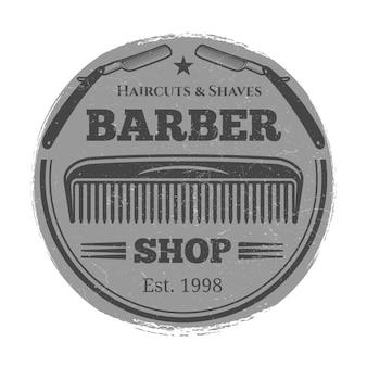 Monochromatyczny fryzjer sklep vintage etykieta - godło salon fryzjerski