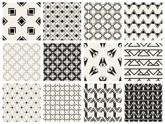 Monochromatyczny geometryczny deseniowy bezszwowy set.