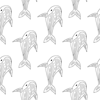 Monochromatyczny i elegancki wzór z wielorybami.