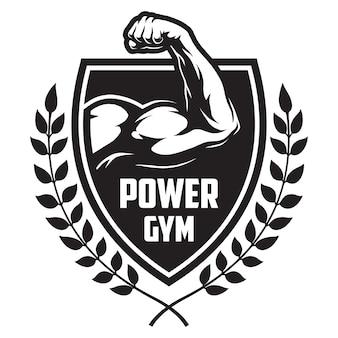 Monochromatyczny logotyp sportu i fitnessu z gałęziami laurowymi mięśni kulturysty