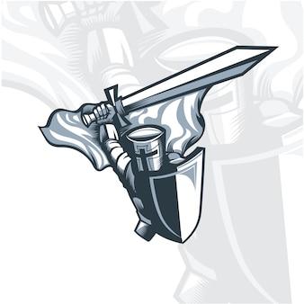 Monochromatyczny rycerz wymachujący mieczem.