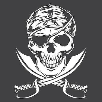 Monochromatyczny skull pirate w czerni i bieli