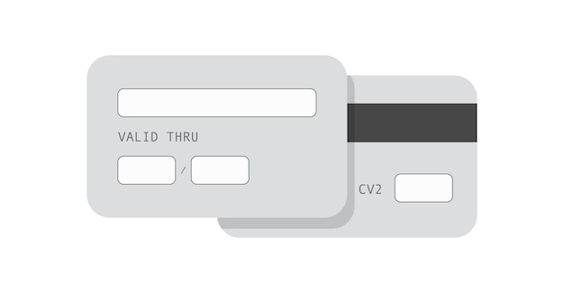 Monochromatyczny szablon karty kredytowej. baner komercyjnej karty bankowej do transakcji płatniczych online bez użycia gotówki i handlu elektronicznego wygodna bankowość finansowa z osobistego konta internetowego.