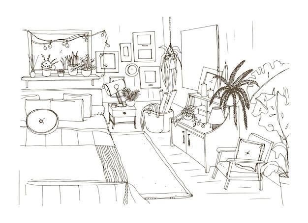 Monochromatyczny szkic wygodnej sypialni urządzonej w stylu skandynawskim