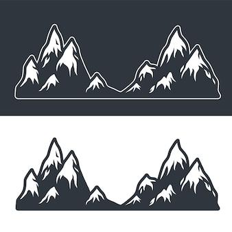Monochromatyczny wektor zestaw gór i skał na ciemnym i jasnym tle