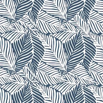 Monochromatyczny wydruk liści dżungli. tropikalny wzór, liście palmowe bez szwu. egzotyczna roślina.