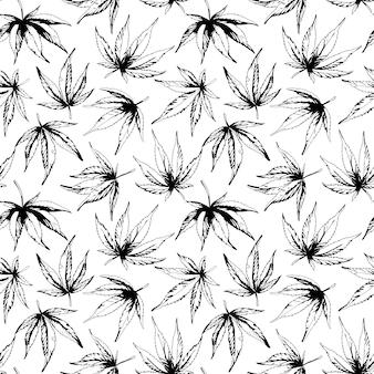 Monochromatyczny wzór liści konopi ilustracja wektorowa