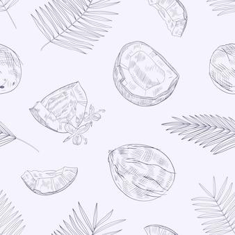 Monochromatyczny wzór z dojrzałymi świeżymi pękniętymi kokosami, kwiatami i liśćmi palmy ręcznie rysowane z liniami konturowymi na jasnym tle