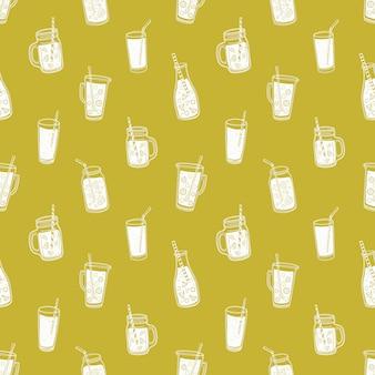 Monochromatyczny wzór z letnimi napojami bezalkoholowymi, smacznymi sokami lub koktajlami narysowanymi liniami konturowymi.