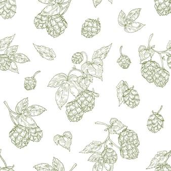 Monochromatyczny wzór z pąkami kwiatowymi chmielu ręcznie rysowane za pomocą linii konturowych