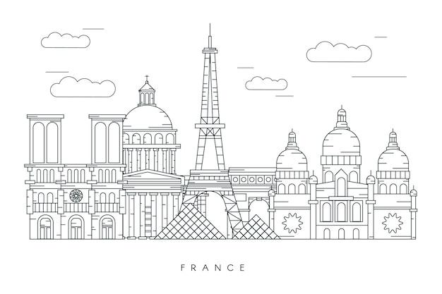 Monochromatyczny zarys zabytków panoramę