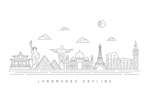 Monochromatyczny zarys zabytków projekt panoramę