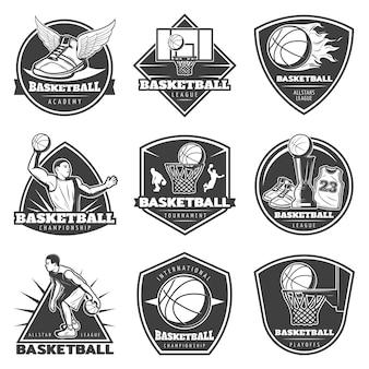 Monochromatyczny zestaw etykiet vintage koszykówka