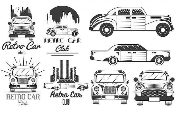 Monochromatyczny zestaw logo klubu retro samochodów