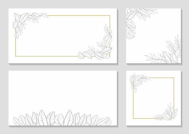 Monochromatyczny zestaw ramek botanicznych na szarym tle