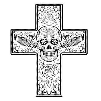 Monochromu krzyż z skrzydlatą cukrową czaszką odizolowywającą na białym tle. dzień śmierci.
