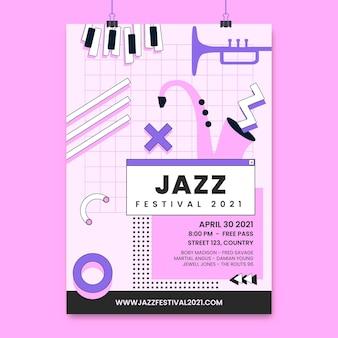 Monocolor memphis jazzowy plakat z wydarzeniem muzycznym