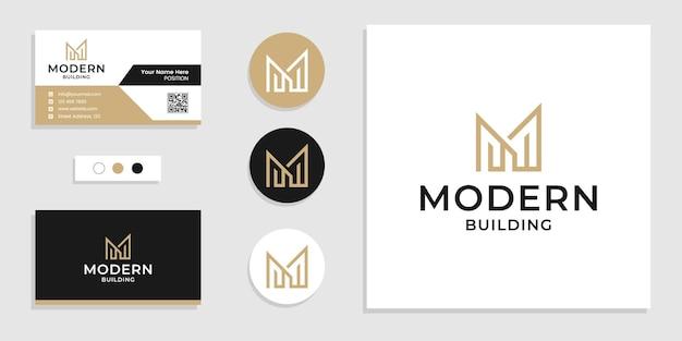 Monogram budynku logo początkowa litera m i szablon projektu wizytówki