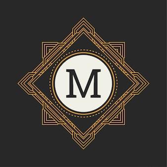 Monogram kwiatowy. klasyczna ozdoba na logo m.