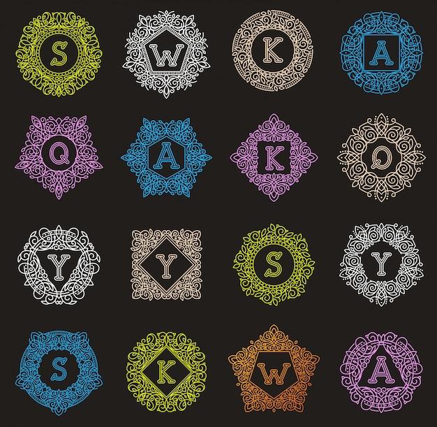 Monogram listu emblemat rocznik pisze list ornamentacyjnego projekta znaka kwiecistej eleganckiej mono etykietki ramy dekoracyjnego osobistego imienia marki lub ślubnej ikony ilustrację