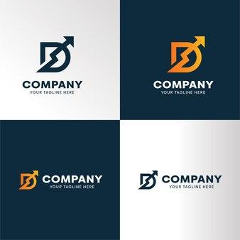 Monogram litera d z logo premium ze strzałką w górę