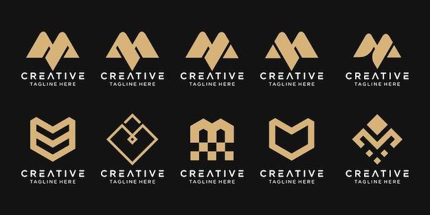Monogram litera m logo zestaw ikon projekt dla biznesu moda sportowa technologia cyfrowa