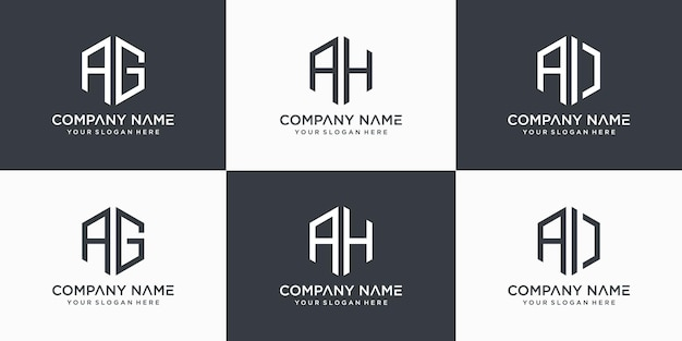 Monogram litery ag, ah, szablon projektu logo ai