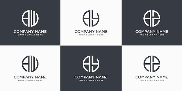 Monogram litery aw, ay, az szablon projektu logo