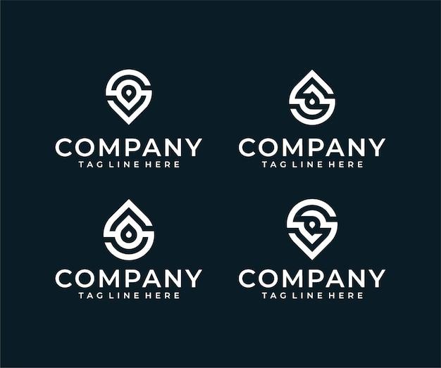 Monogram litery s logo w kolekcji wody w stanie ciekłym