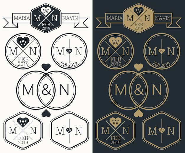 Monogram logo ślubne