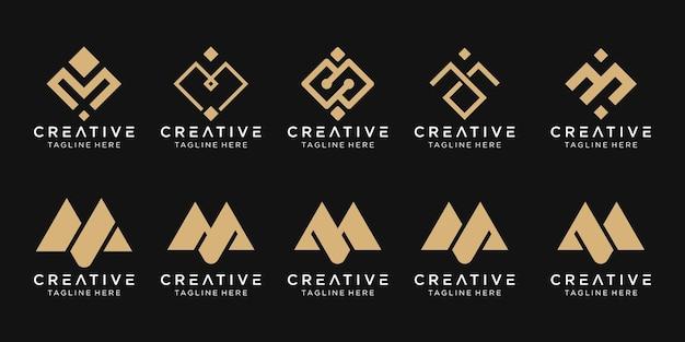 Monogram m logo zestaw ikon dla biznesu technologii modowych pikseli sportowych