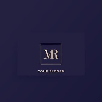 Monogram mr, logo wektorowe litery na karcie